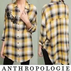 Anthropologie Maeve Yellow Black Embroidered Plaid